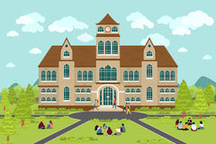 University or college building. Education student, flat campus design, graduation university, vector illustration Stock Image