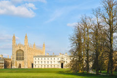 University College in Cambridge. The chapel and a buliding of the King's College, in Cambridge Stock Image