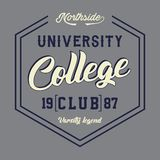 University college club. Design letters and numbers university college club for t-shirts Royalty Free Stock Photo