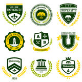 University and college crests. Set of university and college school crests and emblems Royalty Free Stock Images