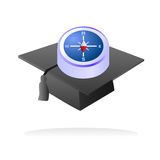 University and college guidance. Vector illustration of compass over a graduation cap, metaphor for college and university courses guidance, useful as logo or Stock Photo