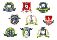 University and college school retro heraldic icons. Education symbols for university and college school design with books and pens, graduation cap and owl, atom Royalty Free Stock Photos
