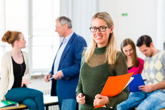 University College Student in class room royalty free stock image