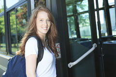 University / college student girl looking happy Stock Images