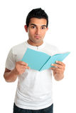 University college student with open book Stock Photo