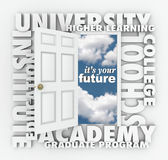 University College Words Open Door to Your Future Stock Image