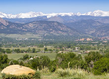 University of Colorado. View of the University of Colorado in Boulder with the Rocky Mountains in the background Royalty Free Stock Photo