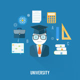University concept with item icons Stock Images