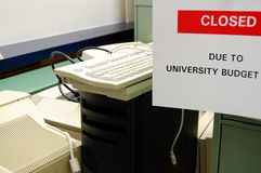 University Cuts. CLOSED Sign posted in the office at a university or college Royalty Free Stock Images