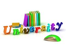 UNIVERSITY 3d inscription bright volume letter Stock Images