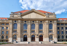 University of Debrecen. With big white clouds, blue background Stock Photo