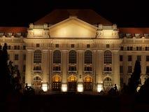University of Debrecen at night. A universitys main building is of Debrecen in floodlight Royalty Free Stock Photos