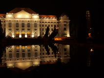 University of Debrecen at night. A universitys main building is of Debrecen in floodlight Royalty Free Stock Image