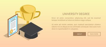 University Degree Template Banner with Trophy Stock Photos