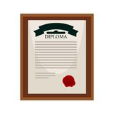 University diploma with red seal in wooden frame Royalty Free Stock Photos
