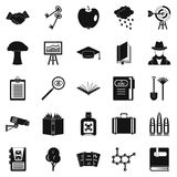 University education icons set, simple style. University education icons set. Simple set of 25 university education vector icons for web isolated on white Stock Photography