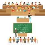 University Education, Students And Professors Collection Of Illustrations Royalty Free Stock Photography