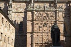 University Facade with Fray Luis Monument, Salamanca Stock Photos