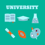 University flat icons. Set of college items.  Stock Images