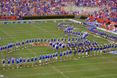 University of Florida Marching Band. Pride of the Sunshine, University of Florida Marching Band performing during a break in the game Royalty Free Stock Photos