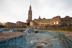 University of Gijon and abandoned swimming pool Royalty Free Stock Photography