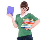 University girl holding books. And smiling on white background Royalty Free Stock Photos