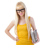 University girl holding books and smiling Royalty Free Stock Photography