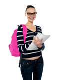 University girl posing with backpack Stock Photography