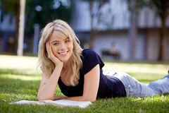 University Girl Studying Outdoors Royalty Free Stock Images