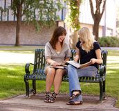University Girls Studying Outdoors Stock Photos