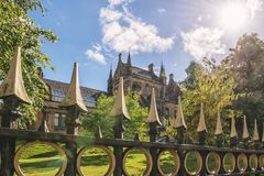 University of Glasgow, Scotland, UK. University of Glasgow, Scotland, Architecture and travel in Scotland, spring in Glasgow Royalty Free Stock Photography