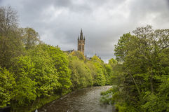 University of Glasgow tower, over the River Kelvin Royalty Free Stock Photos