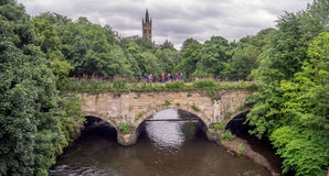 University of Glasgow. Towers of University of Glasgow in Glasgow Scotland along the Kelvin River Stock Photography