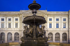 University Gomes Teixeira Square Fountain, Porto night cityscape Stock Images
