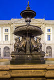 University Gomes Teixeira Square Fountain, Porto night cityscape Royalty Free Stock Image
