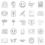 University graduate icons set, outline style Royalty Free Stock Image