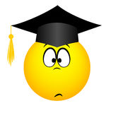The university graduate in a square academic cap, emoticon Royalty Free Stock Image