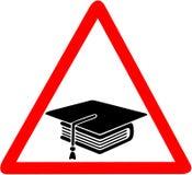 University Graduation cap black icon caution red triangular road warning sign isolated on white background.  Stock Photography