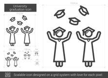 University graduation line icon. University graduation vector line icon isolated on white background. University graduation line icon for infographic, website Stock Photography