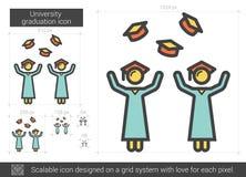 University graduation line icon. University graduation vector line icon isolated on white background. University graduation line icon for infographic, website Stock Images