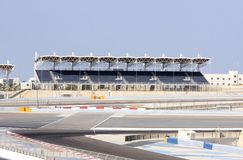 University Grandstand at BIC, Bahrain. SAKHIR, BAHRAIN-NOVEMBER 16: A view of University Grandstand at Bahrain International Circuit on November 16, 2012 in royalty free stock photography