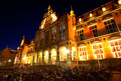 University of Groningen at night. Bicycles parking by University of Groningen at night, Netherlands Royalty Free Stock Photography
