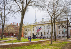 University Hall and John Harvard Statue in Harvard University Stock Images