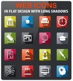 University icon set. University icons set in flat design with long shadow royalty free illustration