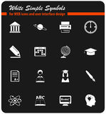 University icon set. University icons for user interface design stock illustration