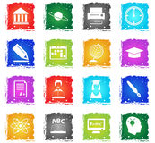 University icon set. University vector web icons in grunge style for user interface design vector illustration