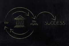 University icon into Try and Try Again until Success graph with. Repetitive cycle and arrows, concept of working hard at school Royalty Free Stock Images