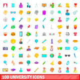 100 university icons set, cartoon style. 100 university icons set in cartoon style for any design vector illustration Royalty Free Stock Image