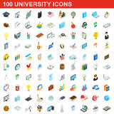100 university icons set, isometric 3d style Royalty Free Stock Images