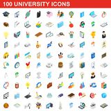 100 university icons set, isometric 3d style. 100 university icons set in isometric 3d style for any design illustration vector illustration